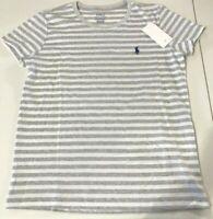 NWT Polo Ralph Lauren Women's SZ S Classic Crew T-shirt Striped Gray Pony Logo