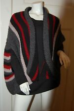 Hand knitted striped shrug cardigan in PATON'S iNCA in Black/red/blue/grey