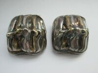 Vintage Signed 2 Tone Metal Large Textured Statement Clip On Earrings
