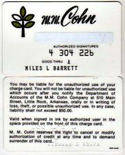 Vintage Store Credit Card Issued By M.M. Cohn, Little Rock, Arkansas: 1970s