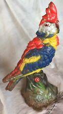 Antique cast door stop colorful parrot ORIGINAL PAINT bird Cockatiel Cockatoo