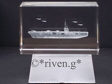 AIRCRAFT CARRIER CRYSTAL Laser Block & L.E.D. Display Box@3D PAPER-WEIGHT@MARINE