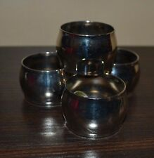 Set of 4 Round Silver Colored Metal Napkins Rings