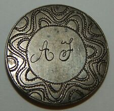 "Love Token Engraved with Initials ""AF"" on a Seated Liberty Quarter"