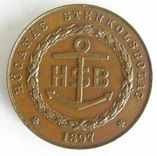 1797-1897 Sweden 100 Year Bronze Medal Commemorating The Hoganas Coal Plant Rare