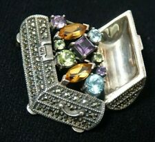 Judith Jack JJ Marcasite Sterling Silver Broach Pin, 21 gr, Semiprecious Stones