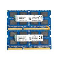 8GB Kingston 2PCS 4GB 2RX8 PC3-12800S DDR3 1600Mhz SODIMM CL11 Laptop Memory RAM