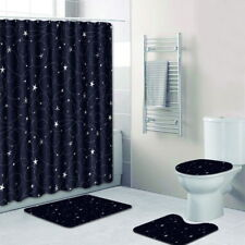 Anti Slip 3 Pieces Bathroom Shower Curtain + Rug + Toilet Seat Cover