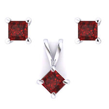 14k White Gold 1ctw  Natural Princess Cut Ruby Pendant & Earrings Set AAA