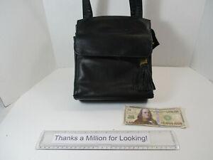 COLETTA Black Leather Evening Bag, Purse, Handbag, New York, Many Pockets, EUC