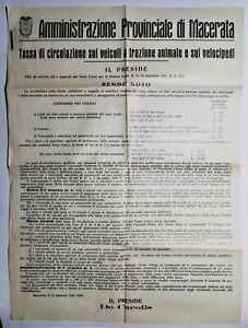 Bando Amministrazione provinciale Macerata tassa di circolazione veicoli 1935