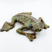 Vintage Spotted MCM Ceramic Glazed Pottery Tree Frog Toad Figurine Wall Hanging