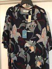 NWT 3xb Caribbean Navy Blue  Pure Silk Floral Shirt $89