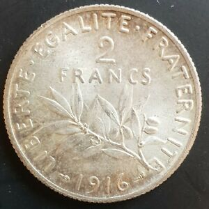 1916 France 2 Silver Franc Coin Brilliant Uncirculated...