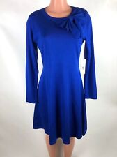 7c4c04c8215 Eliza J Womens Dress Sweater Knit Bow Blue Fit and Flare Size L