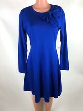 0b70e1c8034 Eliza J Womens Dress Sweater Knit Bow Blue Fit and Flare Size L