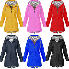 Women Solid Hooded Jacket Windproof Rain Winter Raincoat Waterproof Outdoor CA