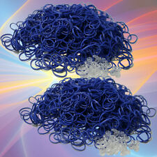 Rubber band refill kit Blue for rainbow 1200pc BlueDot +50 S clips loom bracelet