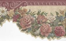 Wallpaper Border Rose Floral Garland Swag With Burgandy Molding Die Cut Bottom