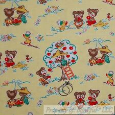 BonEful FABRIC FQ Cotton Quilt VTG Yellow White Red Little Bear Small Apple Tree