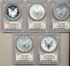 2011 P W S  25th Set PCGS MS69 PR69 MERCANTI Signature Silver Eagle FIRST STRIKE