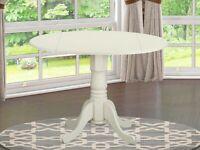 "42"" Round Dublin drop-leaf pedestal kitchen table linen off-white DLT-WHI-TP"