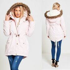 WOMENS LADIES BRAVE SOUL MILITARY LINED FUR HOODED PARKA JACKET WARM WINTER COAT