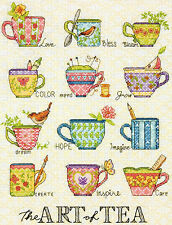 Cross Stitch Kit ~ Dimensions The Art of Tea Inspiring Words Teacups #70-35335