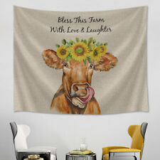 Sunflower Cow Farm Animal Inspiration Tapestry Wall Hanging Living Room Bedroom