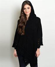 NWT Black Hooded Poncho Bohemian Style one size