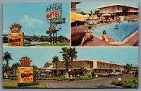Postcard Anaheim CA c1960s Mecca Motel Best Western Accross From Disneyland Pool