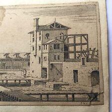 Gravure Ancienne XVIIè Sébastien Le Clerc Moulin A Eau 1685 Antique Etching 17C