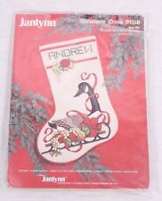 "Sleigh Goose Stocking Cross Stitch Kit #00-285 Personalize 12 x 17.5"" Janlynn"