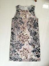 H&M PINK,GREY & BEIGE FLORAL PLEATED NECKLINE SHIFT DRESS – UK 8