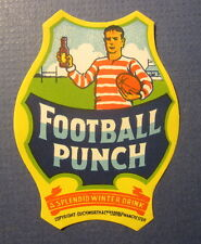 Old c.1920's - FOOTBALL PUNCH - Drink LABEL - RUGBY Player / Field - Duckworth
