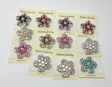 Lot 12 pc Brooch Vintage Style Silver Rhinestone Crystal Brooch Pin Bouquet.