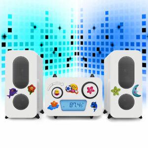 Kinder Stereo Musik Anlage Puffy Aufkleber CD Spieler Radio USB MP3 Flaggen