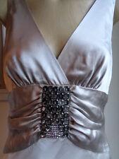 COLLETTE DINNIGAN stunning silver silk beaded evening gown dress size Medium