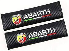 FIAT ABARTH Seat Belt Pads Cover Cushion x2 Carbon  500 PANDA PUNTO 500C 500L