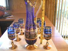 Vintage Moser Czech Murano Blue Carafe Pitcher 6 Glasses Set New Never Used