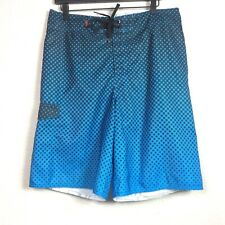 Tony Hawk Mens Size 34 Swim Board Shorts Blue Black Spellout on Back Dot Design