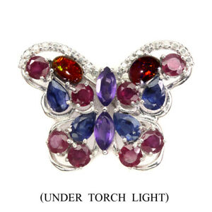 Marquise Amethyst 7x3.5mm Sapphire Gems 925 Sterling Silver Butterfly Brooch