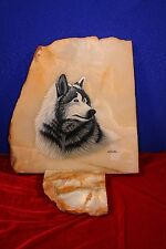 Exquisite! WOLF Head ~ Hand Painted & Signed by Artist Marble slab Stone picture
