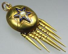 Antique Victorian 18K Gold Blue Enamel Star Pearl Tassel Mourning Locket Pendant