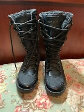 Coach Snow Boots Lace Up Quilted Plaid Color Black  Size 7.5B