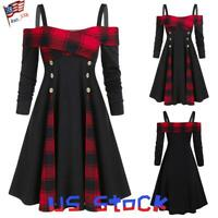 Women Vintage Dress Color Block Plaids Goth Double-breasted Off The Shoulder US