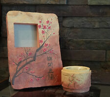 WESTLAND GIFTWARE FAUX STONE PHOTO FRAME w/ MATCHING CANDLE HOLDER PLUM BLOSSOMS