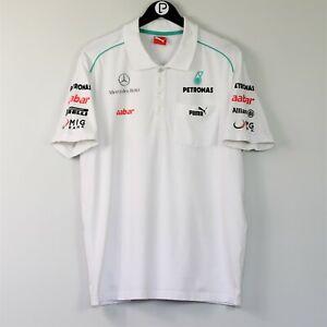 Puma Mercedes Petronas Men's XL White Formula One F1 Polo Shirt