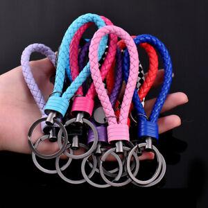 PU Leather Cord Strap Keychain Strap Key Holder Weave Rope Car Keyring Braided