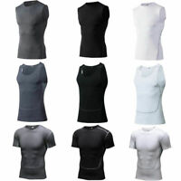 Men's Sports Workout Compression T Shirts Athletic Basketball Gym Running Tops